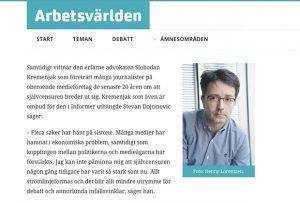 Slobodan Kremenjak Quoted in  Swedish Online Magazine